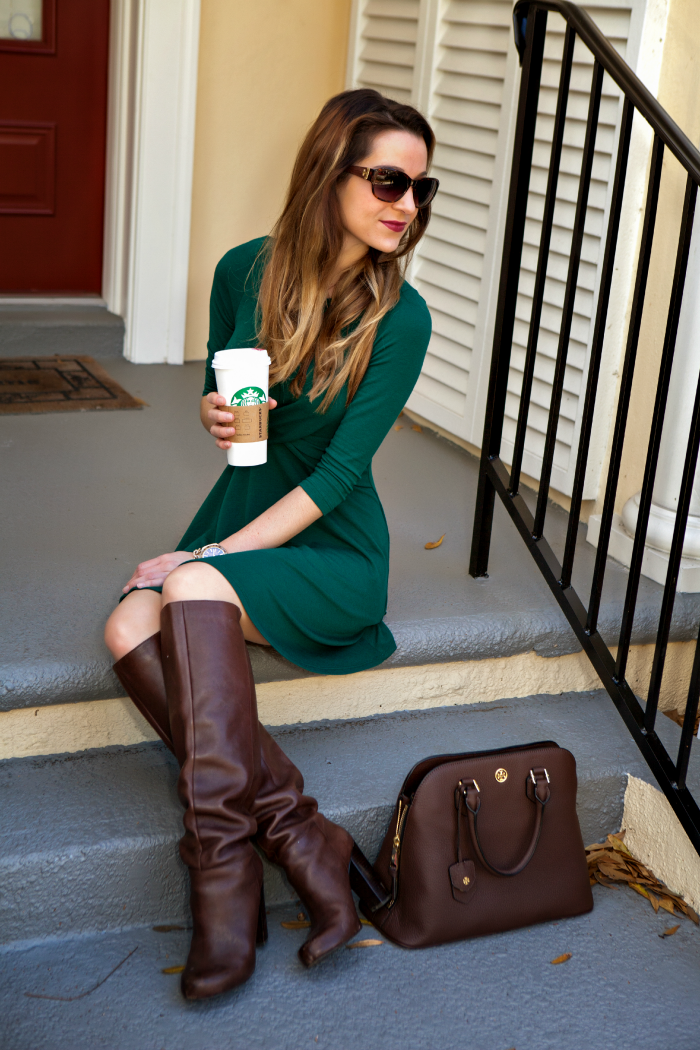 Green Double Cross Dress from The Mint Julep styled by affordable style blogger Stephanie Ziajka from Diary of a Debutante