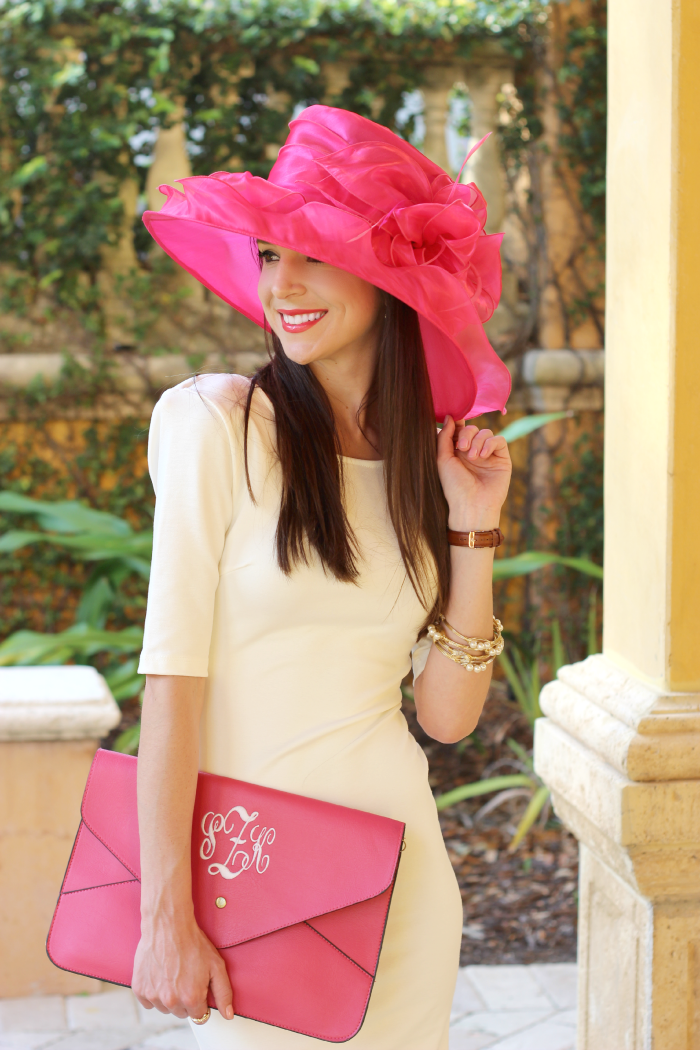 2015 Kentucky Derby Day Fashion, what to wear to a Kentucky Derby party, pink organza derby hat, Derby Day fashion rules