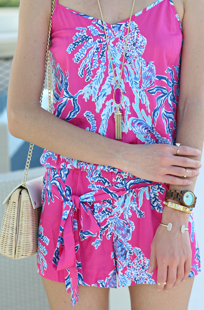 Lilly Pulitzer Dusk Romper in Capri Pink Samba styled by southern fashion blogger Stephanie Ziajka from Diary of a Debutante, Lilly Pulitzer romper, Lilly Pulitzer vacation outfit, Lilly Pulitzer Key West