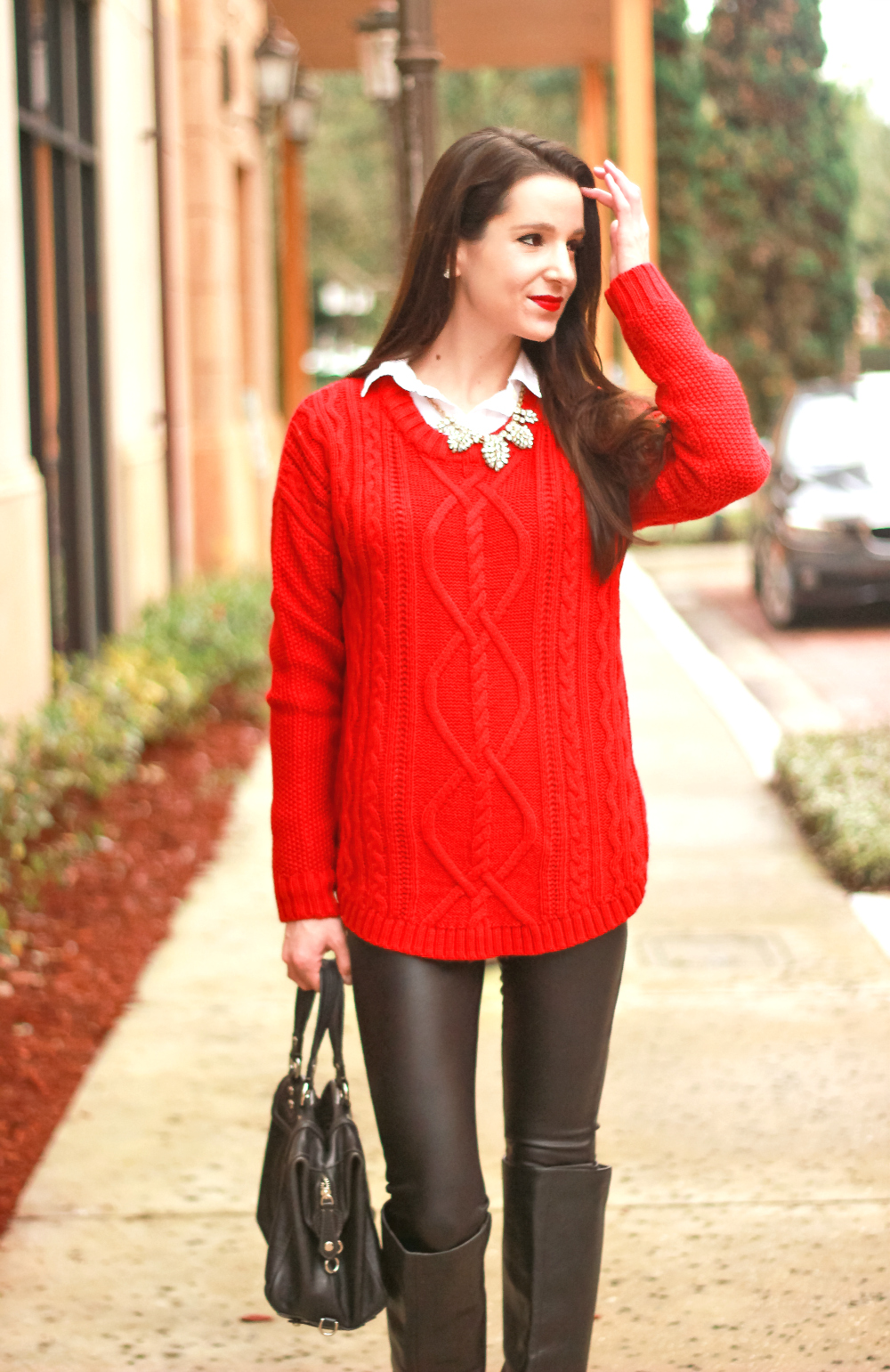 Oversized Red Cable Knit Sweater, Red Cable Knit Sweater, Holiday Outfit, Casual Sweater Outfit, Stephanie Ziajka, Diary of a Debutante