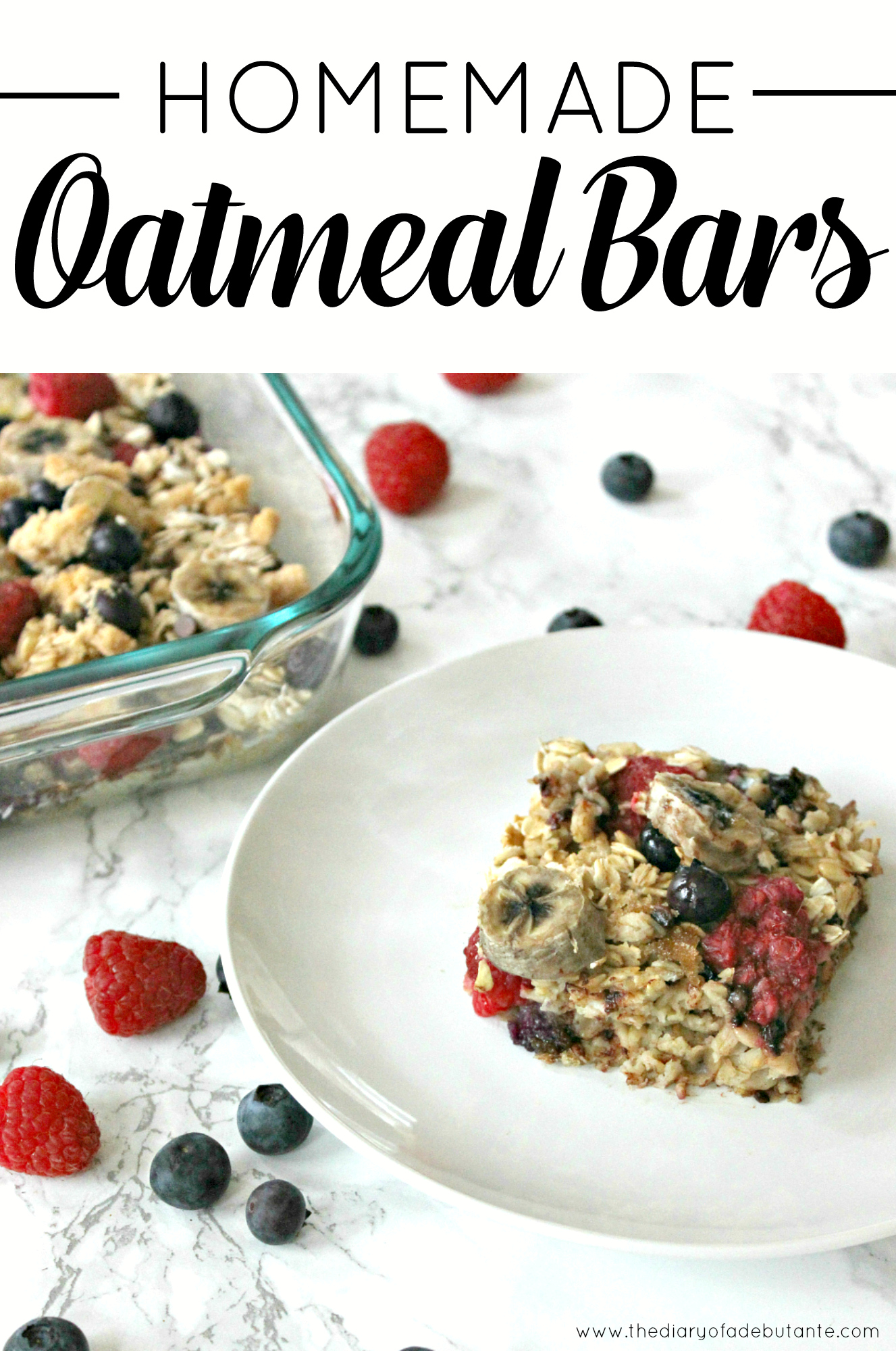 A simple recipe for delicious and low calorie homemade oatmeal bars that will last for up to one week in the fridge!