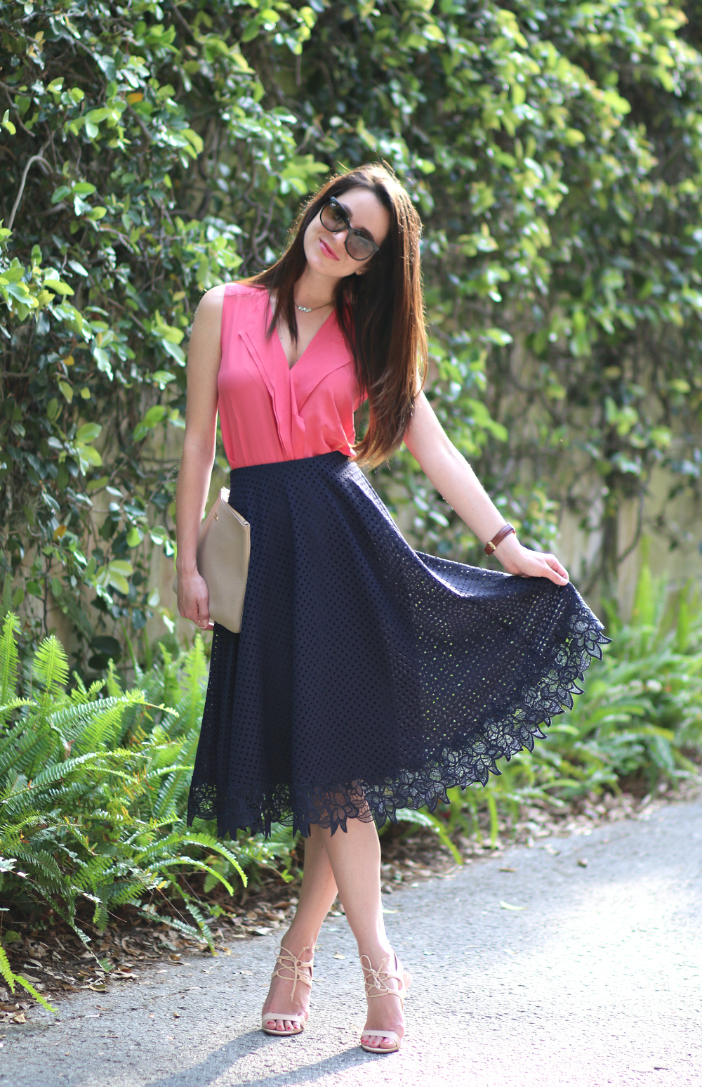 Ann Taylor Skirt, Floral Lace Midi Skirt, Lace Midi Skirt, Lace Swing Skirt, Spring Outfit, Stephanie Ziajka, Diary of a Debutante