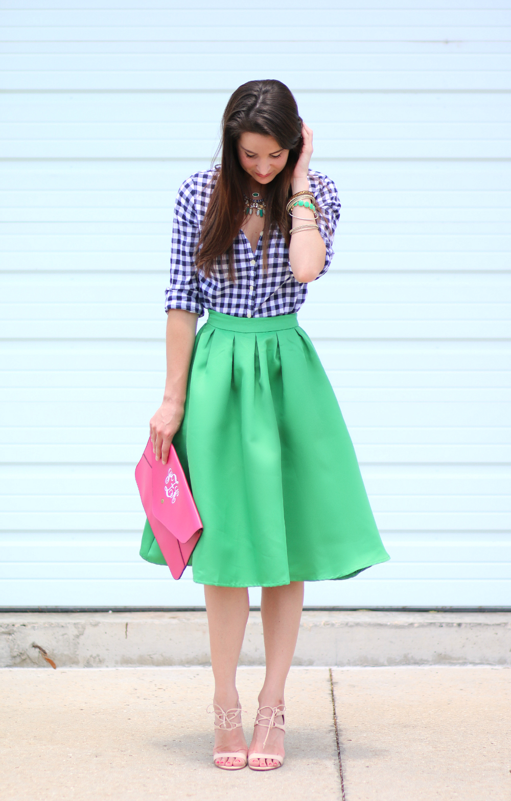 kelly green midi skirt, eating recovery day, green midi skirt. colorful work outfit, spring work outfit, stephanie ziajka, Diary of a Debutante