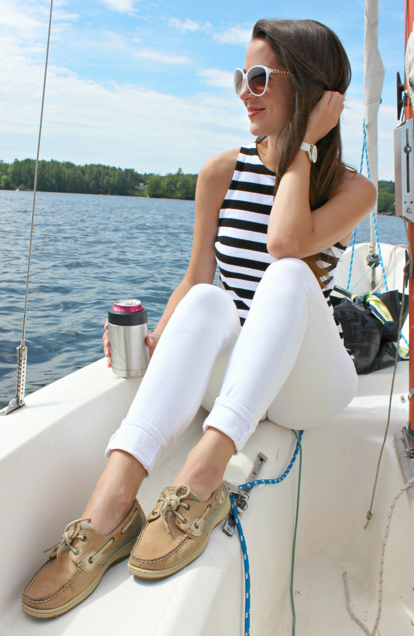 what to wear on a summer sailing date by southern fashion blogger Stephanie Ziajka from Diary of a Debutante, how to dress for sailing, first time sailing, what shoes to wear sailing, what to wear sailing, what to wear sailing in the summer