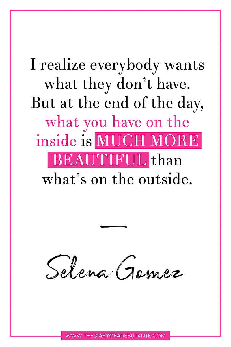 19 inspiring celebrity quotes about body image and eating disorders, Selena Gomez inspirational quote