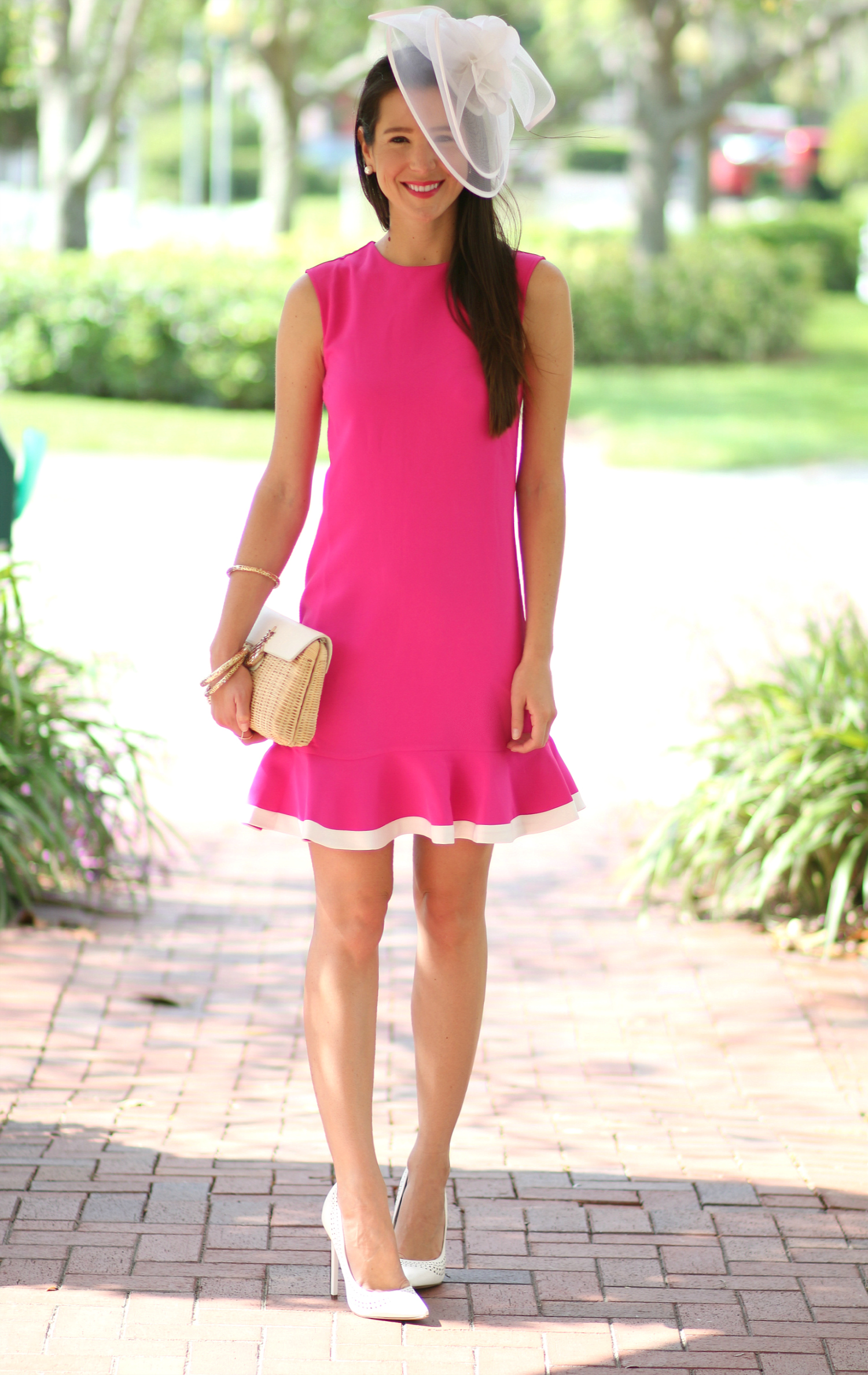 Absolutely darling fuchsia Kentucky Derby dress by Victoria Beckham for Target with a classic white fascinator from Etsy