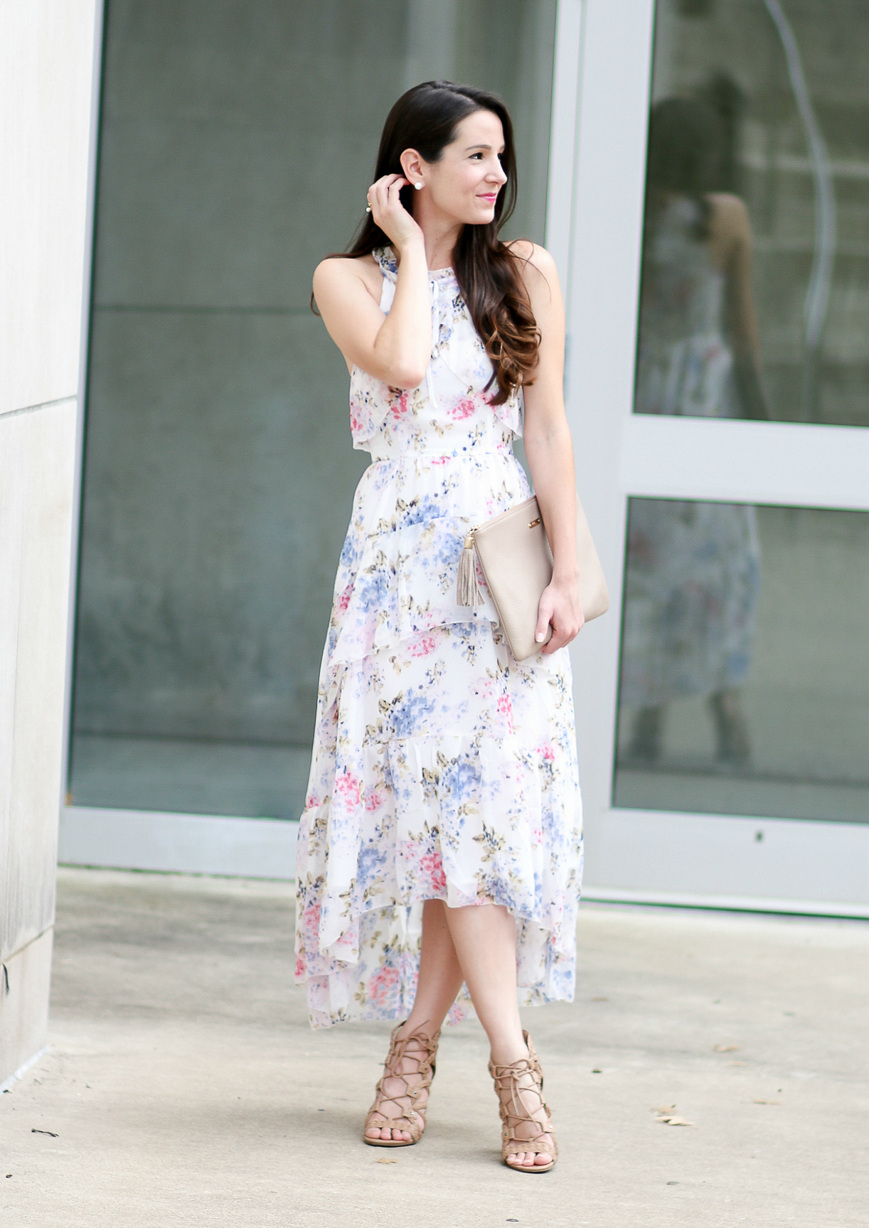 Wearing White to a Wedding: After Market Floral Chiffon Maxi Dress