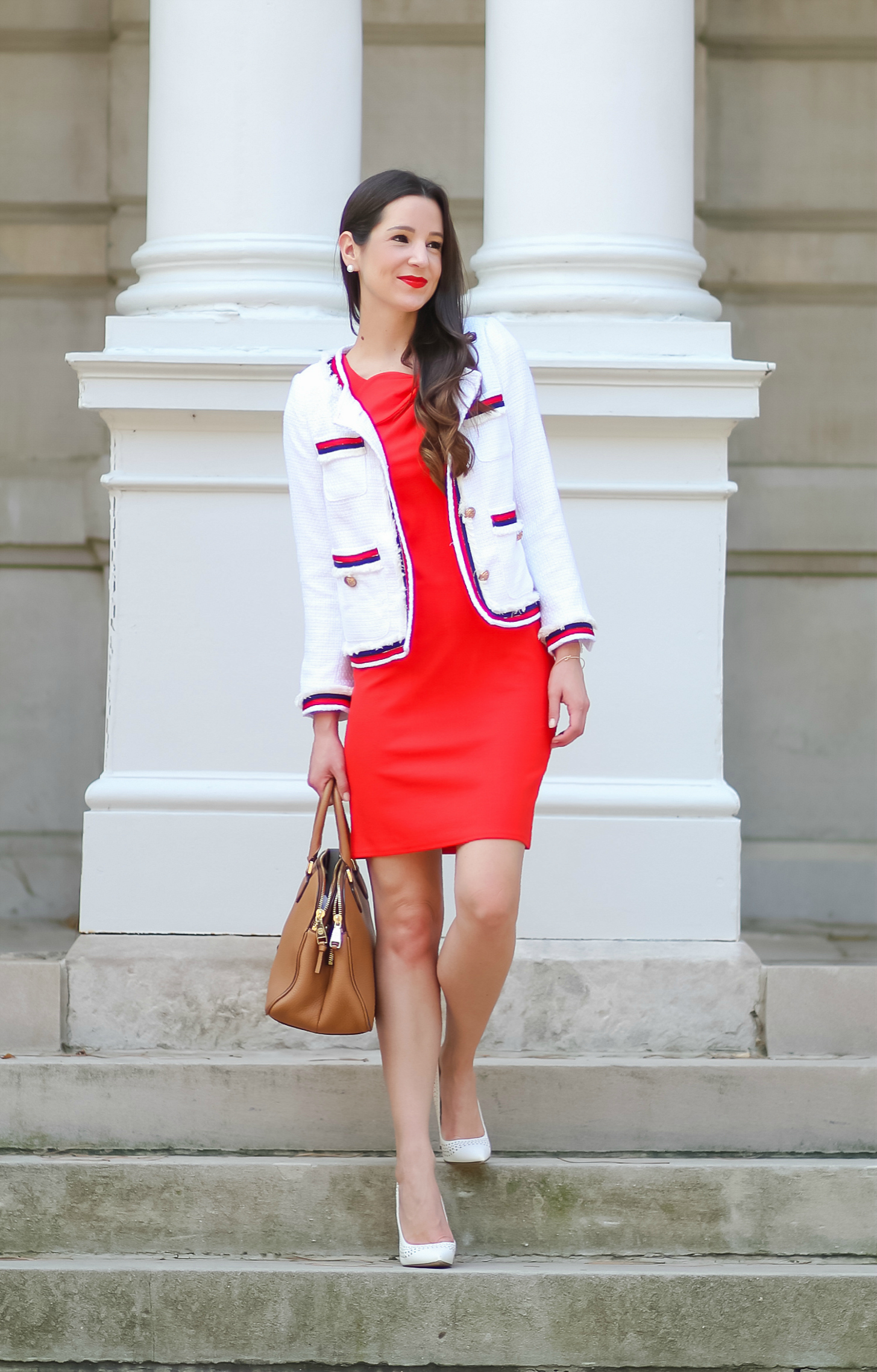 Red Jackie O sheath dress and white tweed jacket | Dressy casual Labor Day outfit idea by fashion blogger Stephanie Ziajka from Diary of a Debutante