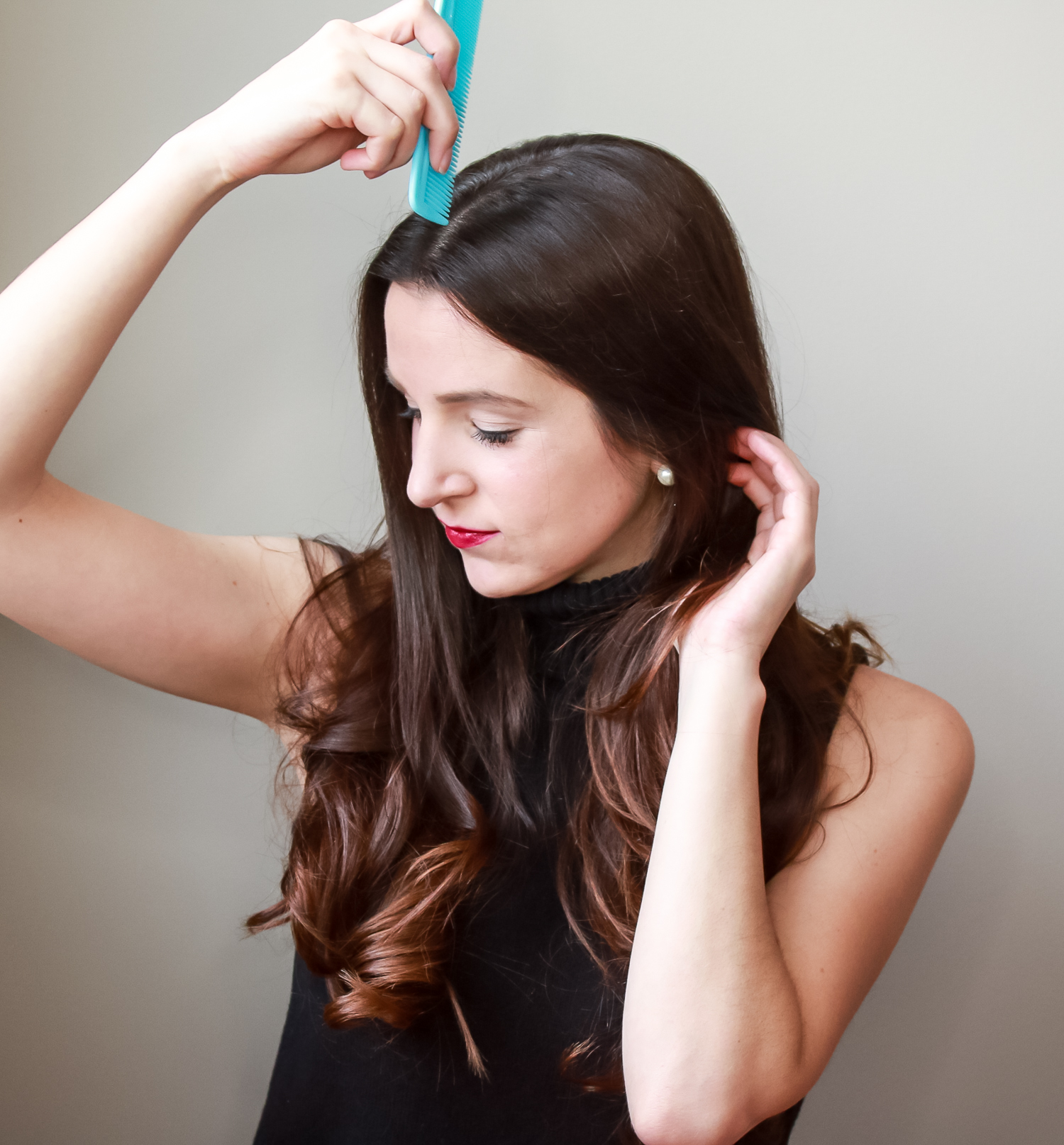 5-minute low messy ponytail hair tutorial by southern blogger Stephanie Ziajka from Diary of a Debutante