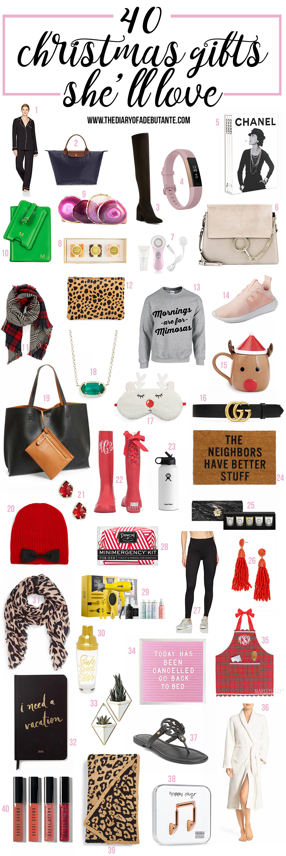 Holiday gift guide for her for every budget (featured items range from $15 to $450) | Christmas gift ideas for girlfriend | Cool gift ideas for girlfriend | Affordable gifts for her | Christmas gifts for women | 40 gifts she'll LOVE this Christmas by fashion blogger Stephanie Ziajka from Diary of a Debutante