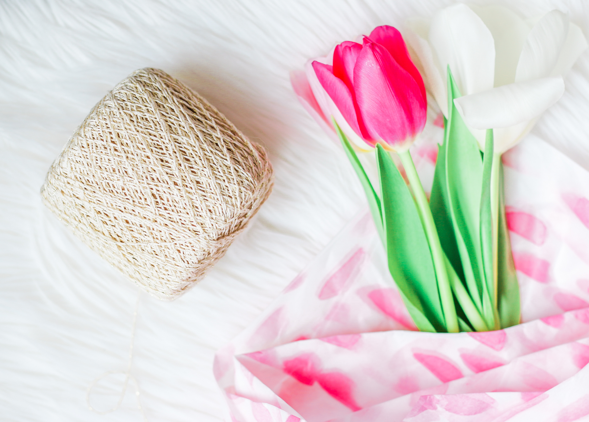 Country Spring Decor: DIY Mini Spring Tulip Bouquets by southern lifestyle blogger Stephanie Ziajka from Diary of a Debutante, spring tulip bouquet, easter tulip bouquet, pretty watercolor tissue paper