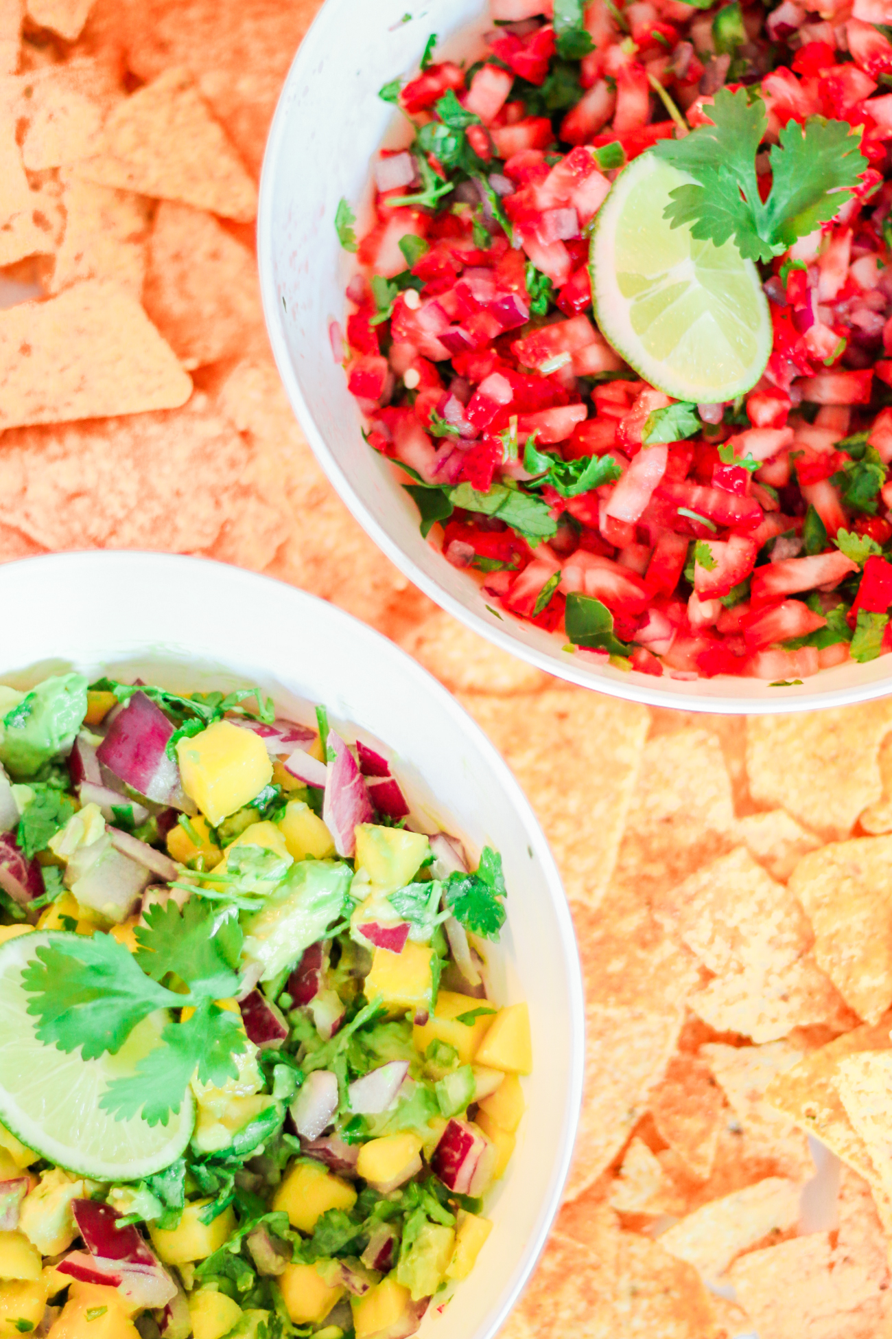 Two Quick Fresh Salsa Recipes for Your Cinco de Mayo Fiesta by southern lifestyle blogger Stephanie Ziajka from Diary of a Debutante, strawberry jalapeno salsa recipe, strawberry and jalapeno salsa recipe, homemade salsa recipe, easy Cinco de Mayo salsa recipe, fresh mango habanero salsa recipe, quick mango and avocado salsa