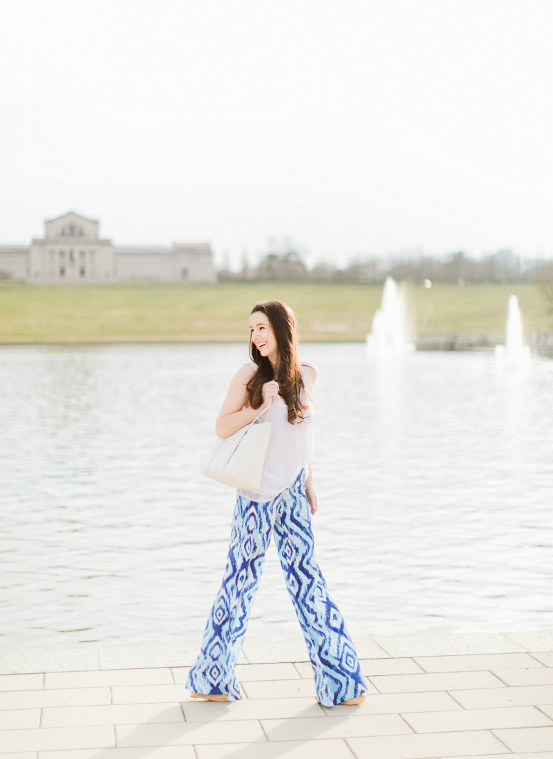 Women's Palazzo Pants Online, Lilly Pulitzer Top Picks, Where to Find Cute Women's Palazzo Pants Online by southern fashion blogger Stephanie Ziajka from Diary of a Debutante, Lilly Pulitzer Lolani Silk Palazzo Pants, Vera Bradley White Peony Mallory Tote, White V-Neck Chiffon Tank Top, MoMo Cork Woven Wedges