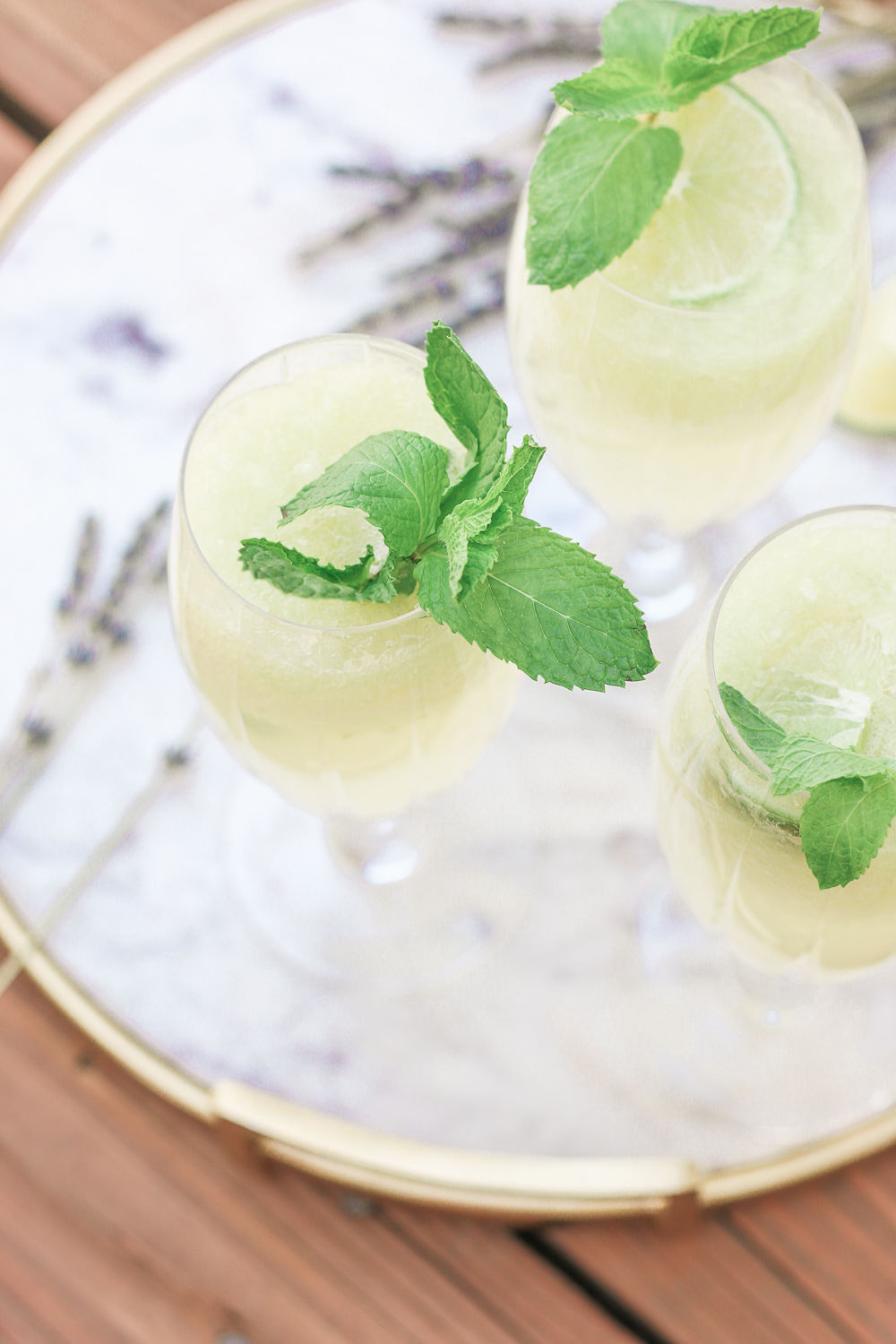 Cucumber Mocktail Recipe for Summer: Cucumber-Lime-Lavender Spritzer by southern lifestyle blogger Stephanie Ziajka from Diary of a Debutante, cucumber mocktail recipes, edible lavender cocktail recipe, Cooking Light mocktail recipes, summer mocktail ideas