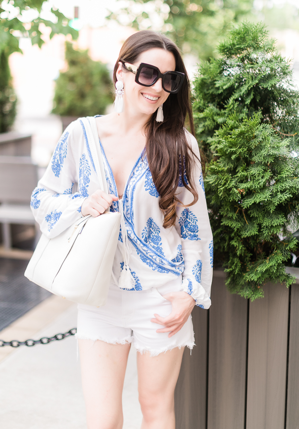Score or Scam: The Truth about Shein Clothing by affordable fashion blogger Stephanie Ziajka from Diary of a Debutante, Shein quality review, is Shein good quality, porcelain print wrap top styled with white Levi 501 shorts, madden NYC wedges, white Vera Bradley Mallory Tote, white statement tassel earrings, and black Gucci dupe sunglasses