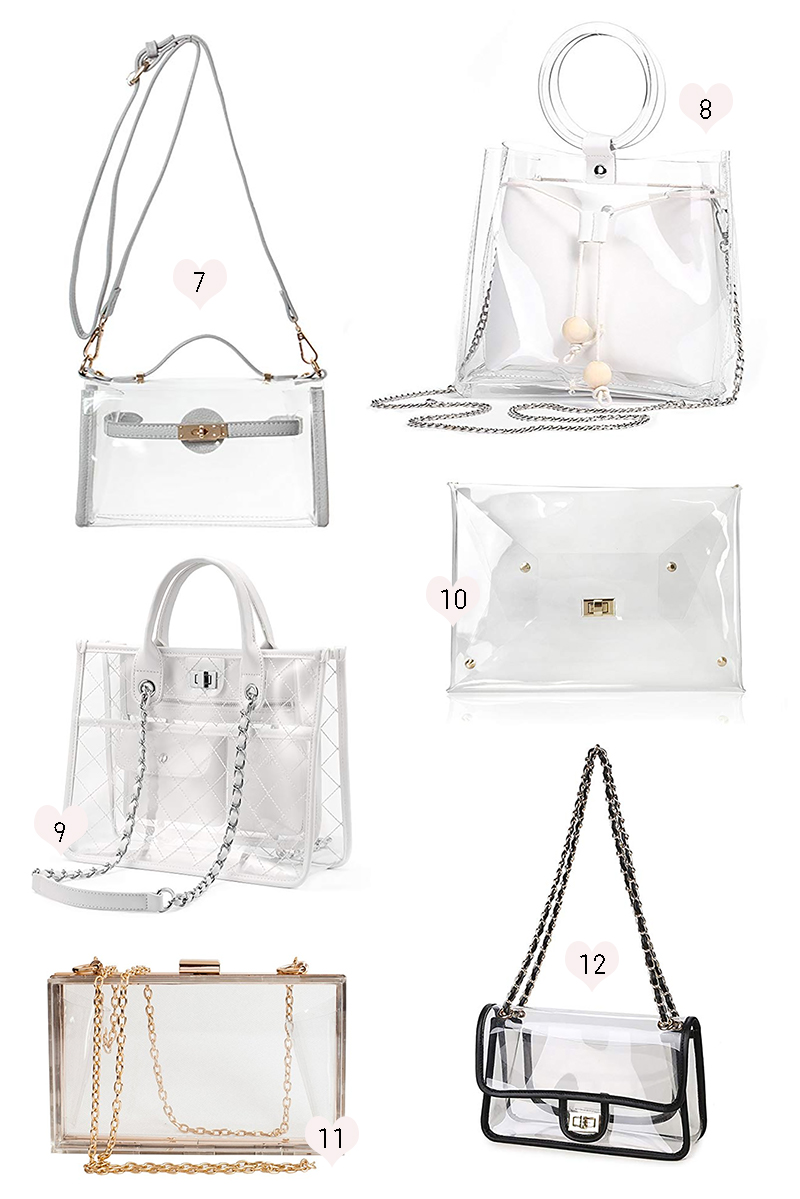 Clear bags for football games under 50, clear plastic tote bags under 50, cute clear purses under 50, 12 Cute Stadium-Approved Bags for Game Day by southern lifestyle blogger Stephanie Ziajka from Diary of a Debutante