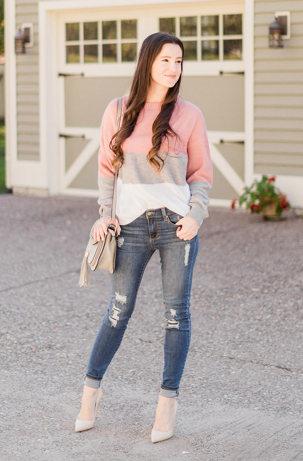 neutral color block sweater outfit by affordable fashion blogger Stephanie Ziajka from Diary of a Debutante, Chloe Hudson dupe bag, Chloe Hudson designer dupe bag, Chloe dupe bag, Tom Clovers Saddle Crossbody, Liverpool Jeans review, distressed Liverpool Jeans