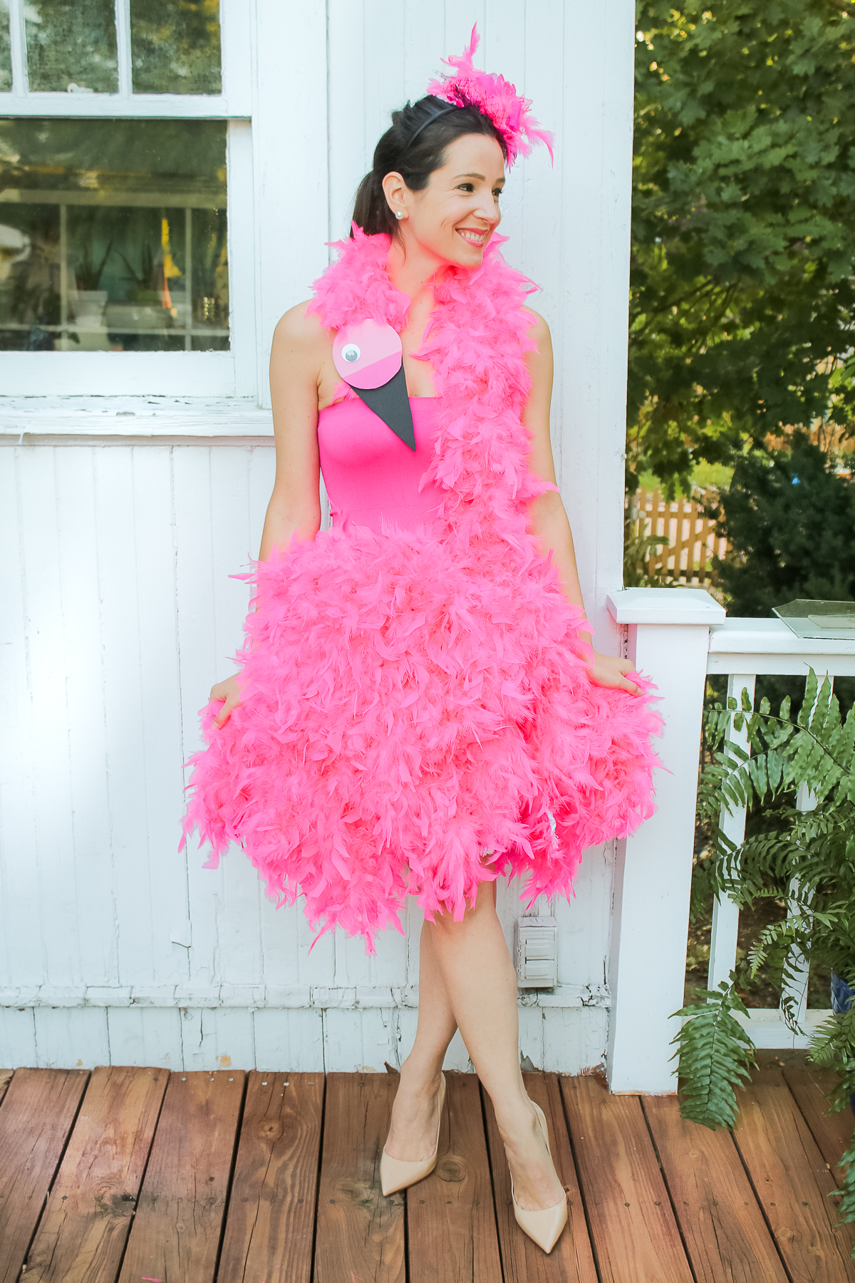 DIY flamingo costume by southern lifestyle blogger Stephanie Ziajka from Diary of a Debutante, DIY pink flamingo costume tutorial, flamingo Halloween costume, cute DIY Halloween costumes, diy costumes for adults