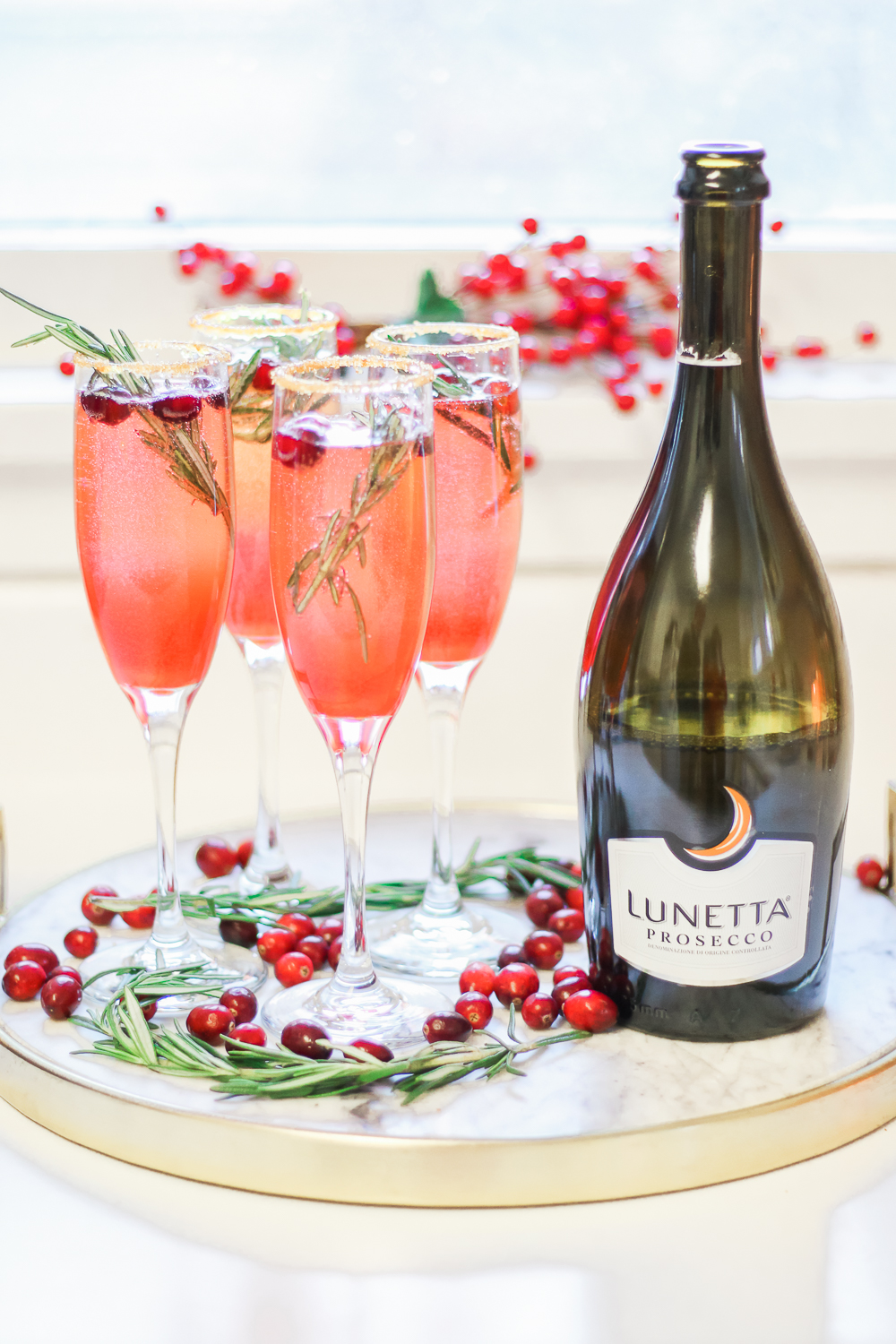 Ombré Cranberry Sparkler: A Cranberry Gin Cocktail for the Holidays by southern lifestyle blogger Stephanie Ziajka from Diary of a Debutante, Lunetta Prosecco review, fresh cranberry cocktail, red ombre cocktail