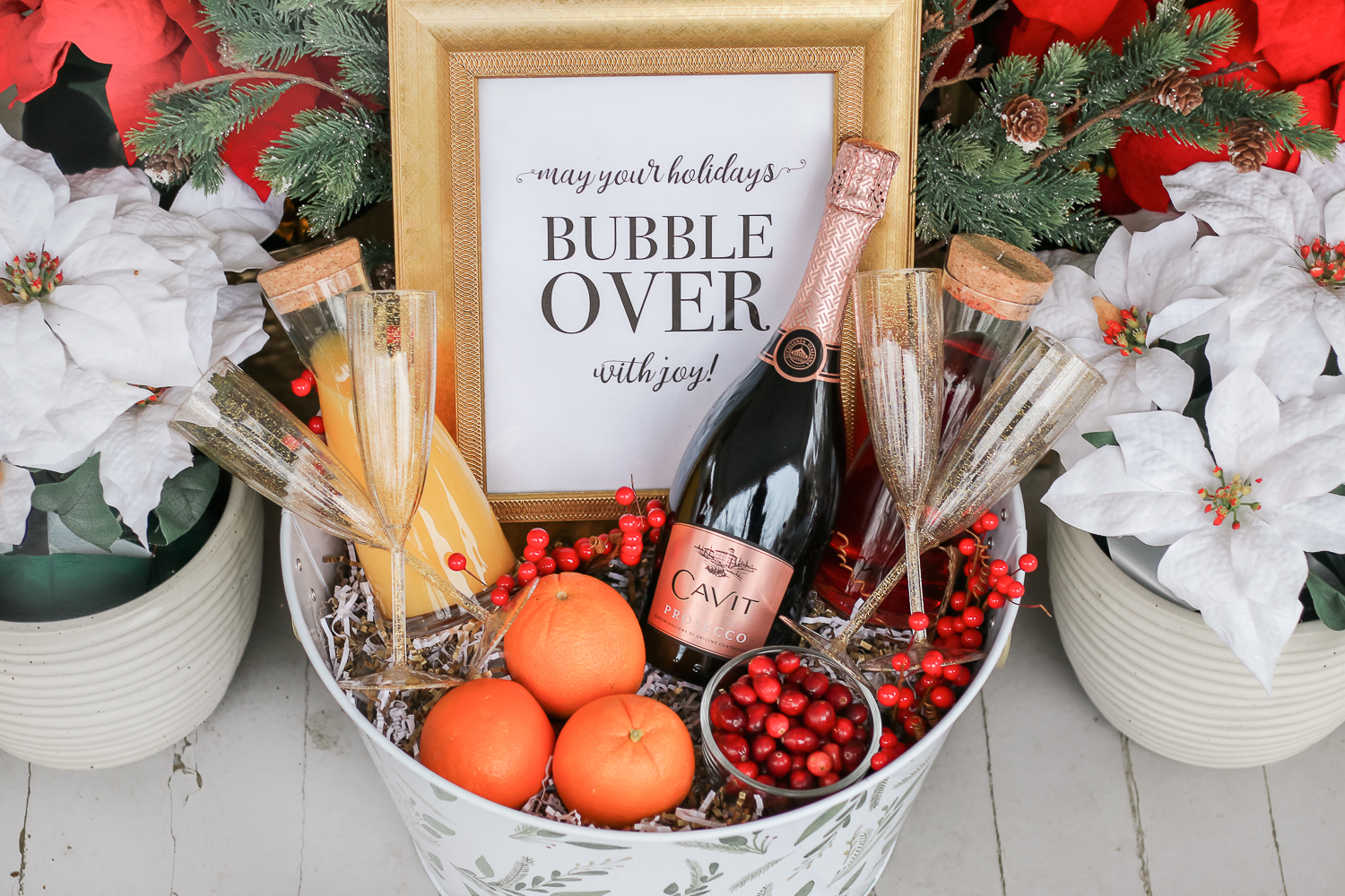 DIY Christmas Morning Mimosa Gift Basket by southern lifestyle blogger Stephanie Ziajka from Diary of a Debutante, Cavit Prosecco review, prosecco gift basket ideas, mimosa champagne gift basket idea, cute wine gift basket ideas for the holidays