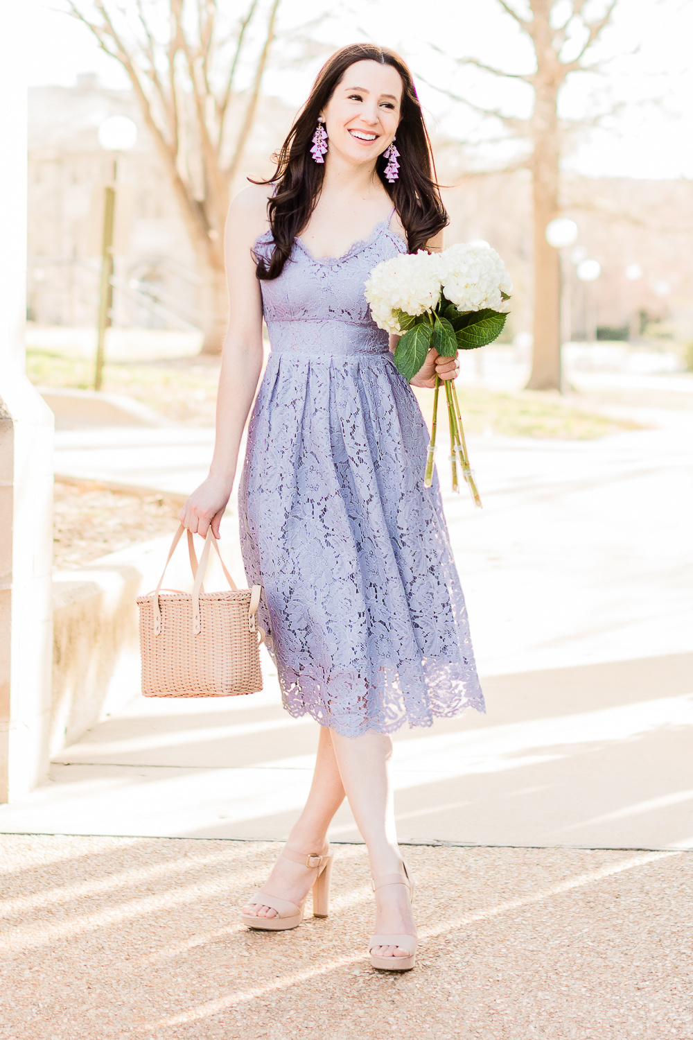 Color Crush: The Lilac Lace Dress I'm Wearing on Repeat This Spring by popular affordable fashion blogger Stephanie Ziajka from Diary of a Debutante, Chicwish lilac lace cami dress, Sugarfix by Baublebar lilac tassel drop earrings, Who What Wear Basket Crossbody Bag, what to wear to a spring wedding, spring wedding guest dress ideas