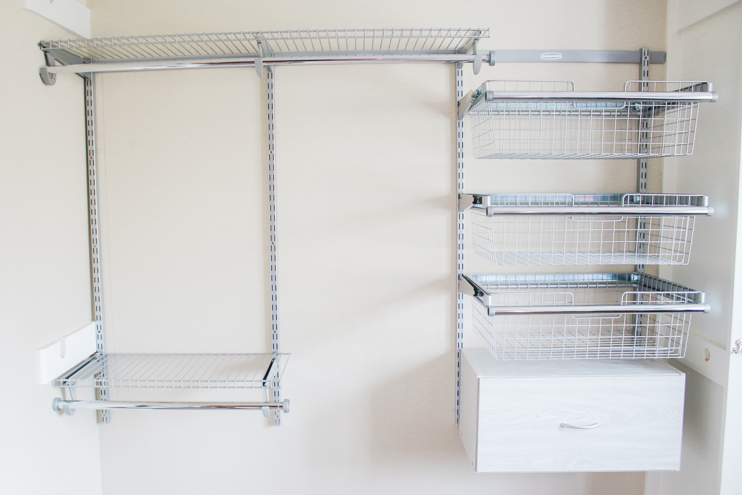 Rubbermaid FastTrack wire sliding baskets, Rubbermaid FastTrack wood drawer unit, How To: Refresh Your Closet with a Rubbermaid FastTrack Closet System by Stephanie Ziajka from the popular southern lifestyle blog Diary of a Debutante, Rubbermaid FastTrack Closet Organization System review and install, affordable custom closet system