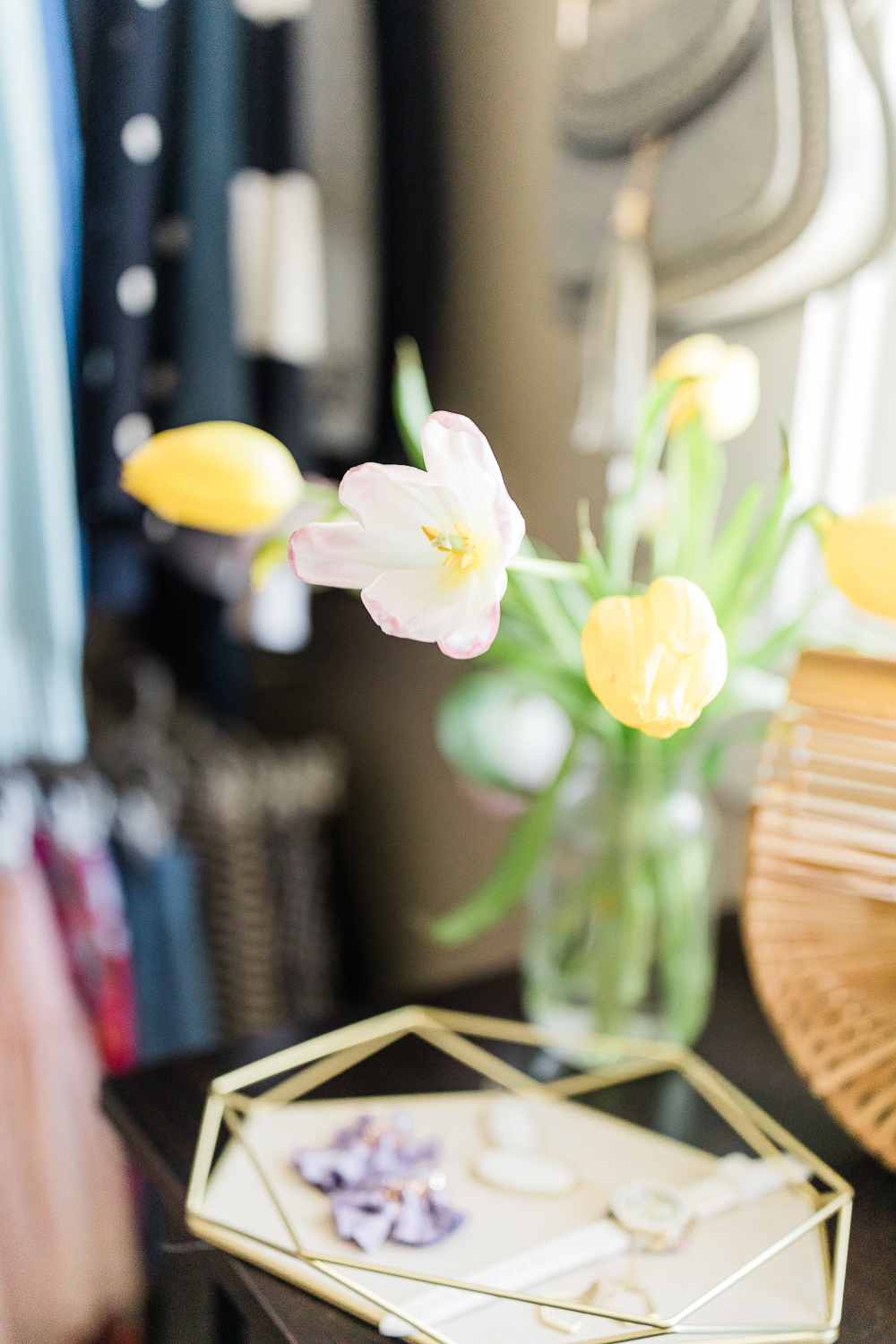 pink and yellow tulips, affordable closet reveal