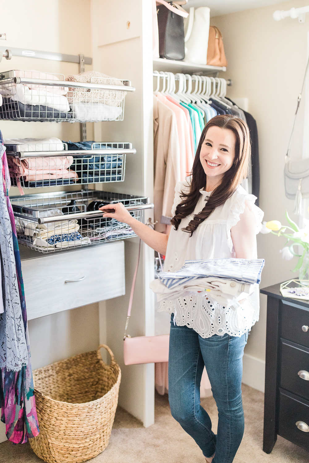 Rubbermaid FastTrack wire sliding baskets, How To: Refresh Your Closet with a Rubbermaid FastTrack Closet System by Stephanie Ziajka from the popular southern lifestyle blog Diary of a Debutante, Rubbermaid FastTrack Closet Organization System review and install, affordable custom closet system