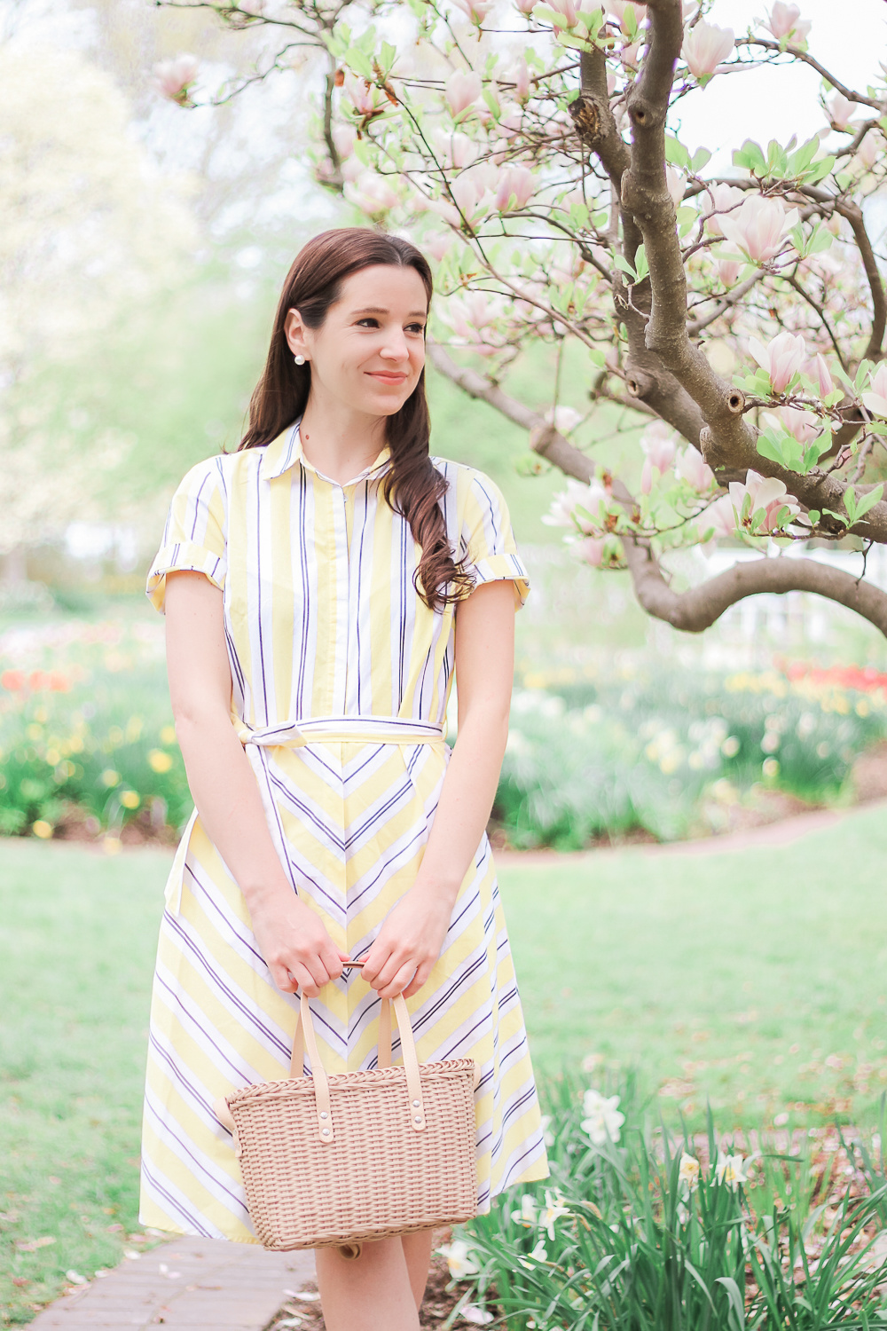 Target Spring Shopping Haul: Top Fashion and Beauty Finds by affordable fashion blogger Stephanie Ziajka from Diary of a Debutante, Target A New Day Yellow Striped Short Sleeve Shirtdress, Women's Adelina Espadrilles Slide Sandals, Basket Crossbody Bag