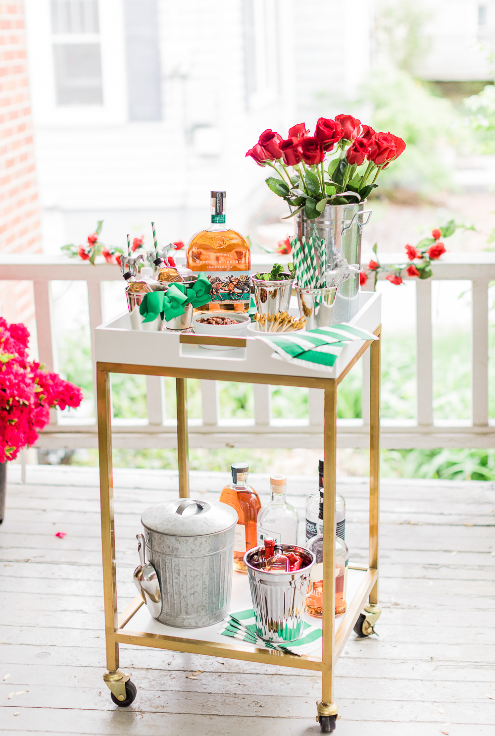Derby Day Bar Cart, Kentucky Derby Bar Cart, Derby Day Bar Cart and Frozen Mint Julep Punch Recipe by Stephanie Ziajka from the popular southern lifestyle blog Diary of a Debutante