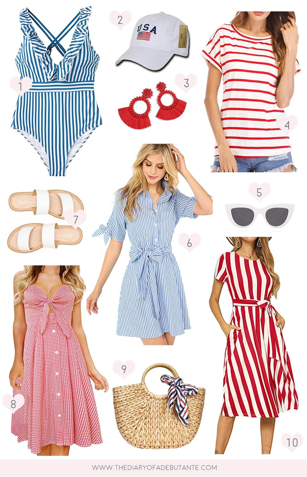 Affordable fashion blogger Stephanie Ziajka shares her top 4th of July Style Picks under $50 on Diary of a Debutante