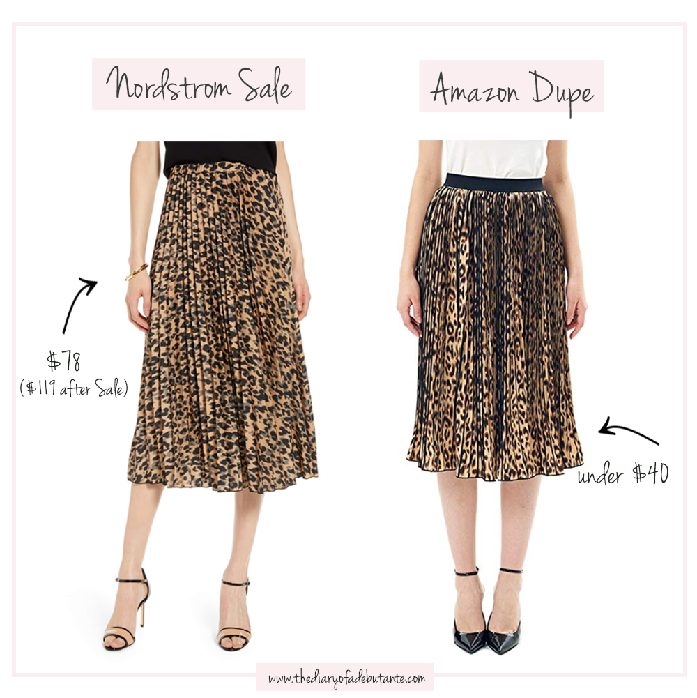 Halogen Pleated Leopard Midi Skirt dupe on Amazon, Nordstrom Anniversary Sale Dupes on Amazon: The Ultimate 2019 List by popular affordable fashion blogger Stephanie Ziajka from Diary of a Debutante