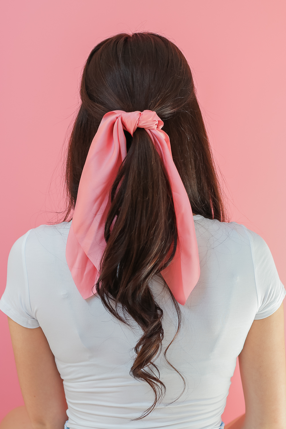 How to Wear Hair Scarves: 3 Easy-to-Wear Hairstyles + Fall Hair Refresh by popular beauty blogger Stephanie Ziajka on Diary of a Debutante, ways to wear hair scarves, how to wear a scarf in your hair, pink hair scarf, half up half down hair scarf hairstyle