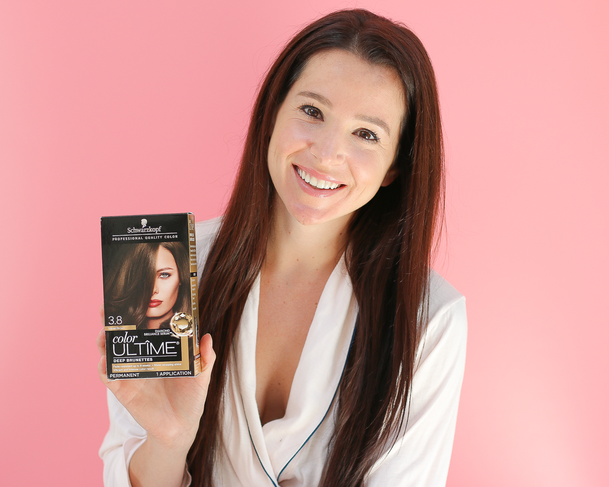 Schwarzkopf Fall Hair Refresh by popular beauty blogger Stephanie Ziajka on Diary of a Debutante, Schwarzkopf Color ULTIME in 3.8 Velvet Brown results, at home hair color tips