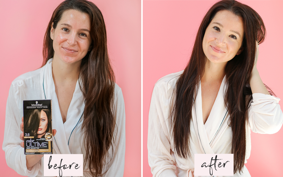 Schwarzkopf Fall Hair Refresh by popular beauty blogger Stephanie Ziajka on Diary of a Debutante, Schwarzkopf Color ULTIME in 3.8 Velvet Brown results, at home hair color tips, Schwarzkopf hair color before and after