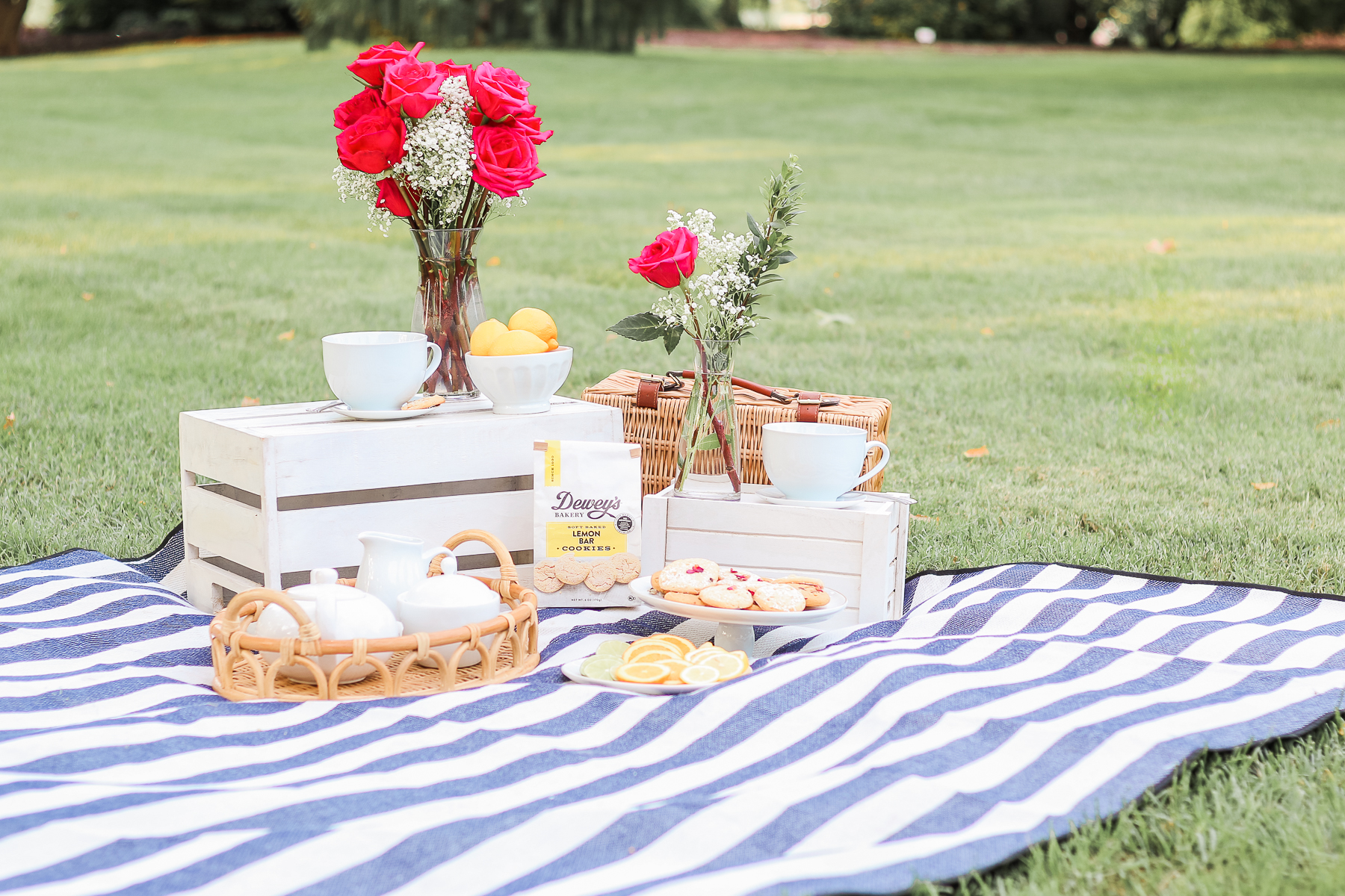 The Perfect Afternoon Tea Picnic Spread by popular midwest lifestyle blogger Stephanie Ziajka on Diary of a Debutante, tea party picnic spread, tea party picnic ideas, afternoon tea picnic ideas, Dewey's Bakery Lemon Bar Cookies