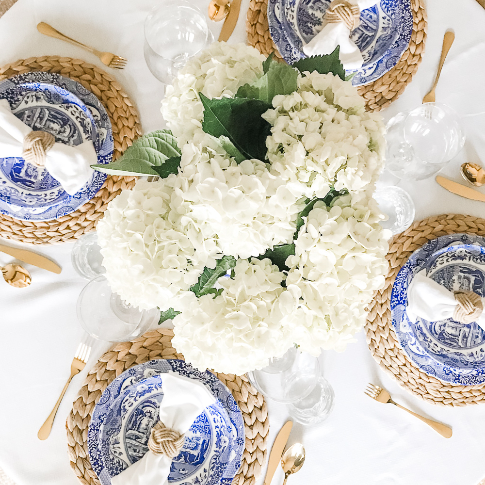 Blue and White Italian Tablescape Idea by popular home decor blogger Stephanie Ziajka on Diary of a Debutante, Spode Blue Italian Dinner Plates, Spode Blue Italian Pasta Bowls, blue and white table setting ideas, blue Italian tablescape, Italian tablescape ideas