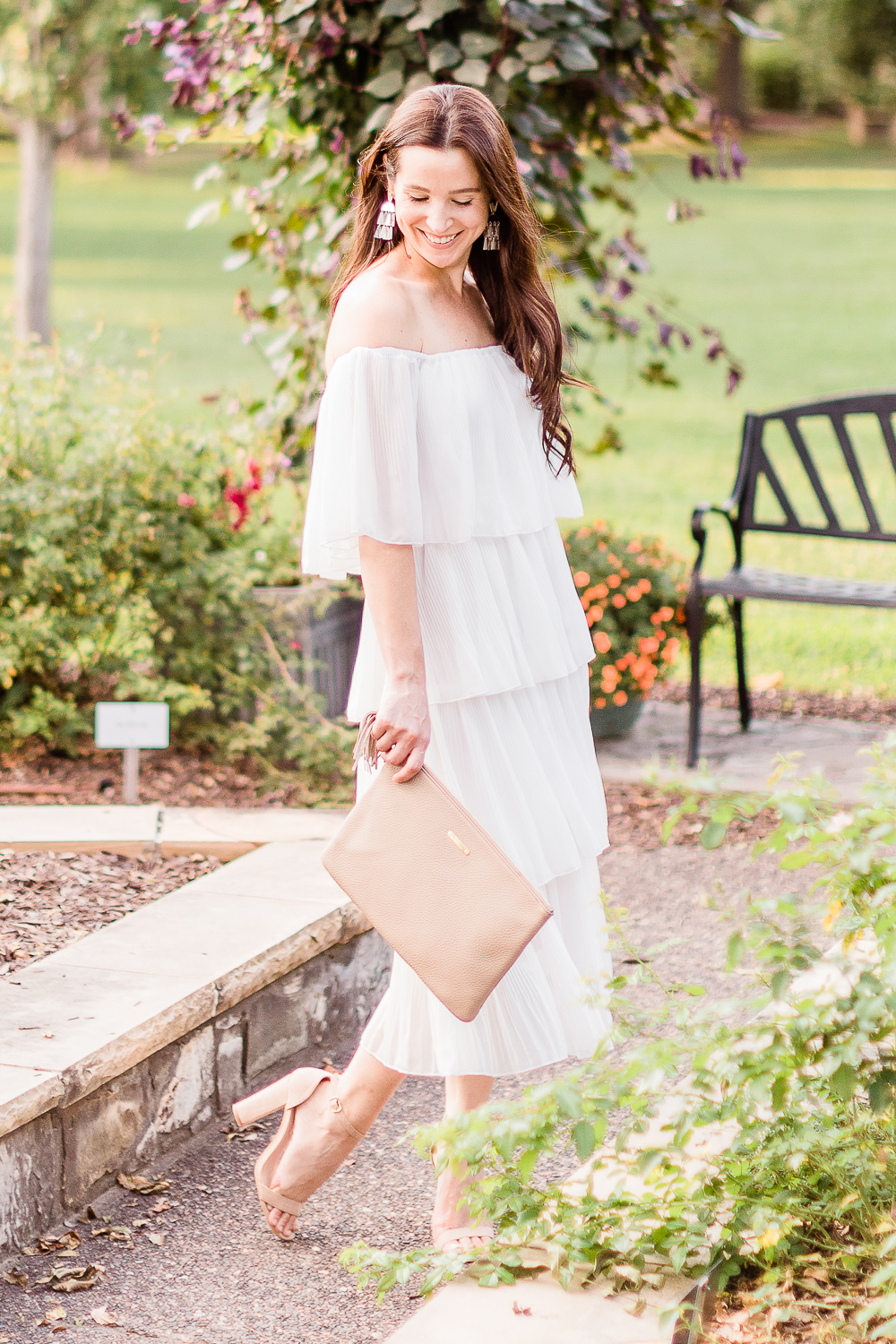 Budget-Friendly Bridal Shower Dress for the Bride-to-Be by affordable fashion blogger Stephanie Ziajka on Diary of a Debutante, Amazon ETCYY Off the Shoulder Ruffle Chiffon Dress styled with Amazon Heels Charm nude chunky block sandals, fall LWD outfit