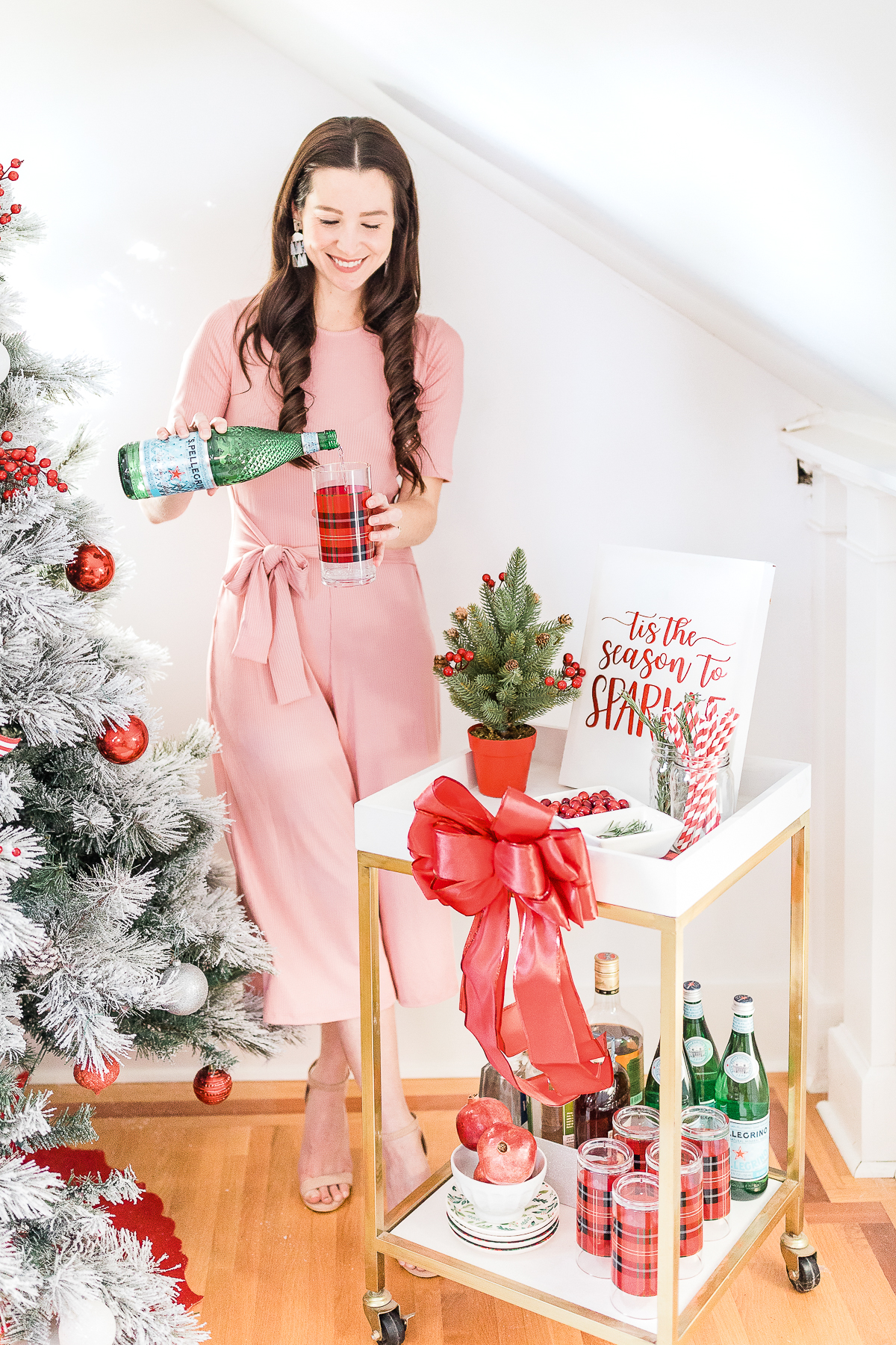 Christmas bar cart, Christmas bar cart styling ideas, holiday bar cart, holiday bar cart styling ideas, special edition Pellegrino bottle, popular lifestyle blogger Stephanie Ziajka, popular lifestyle blog Diary of a Debutante, rose pink jumpsuit, Amazon pink jumpsuit
