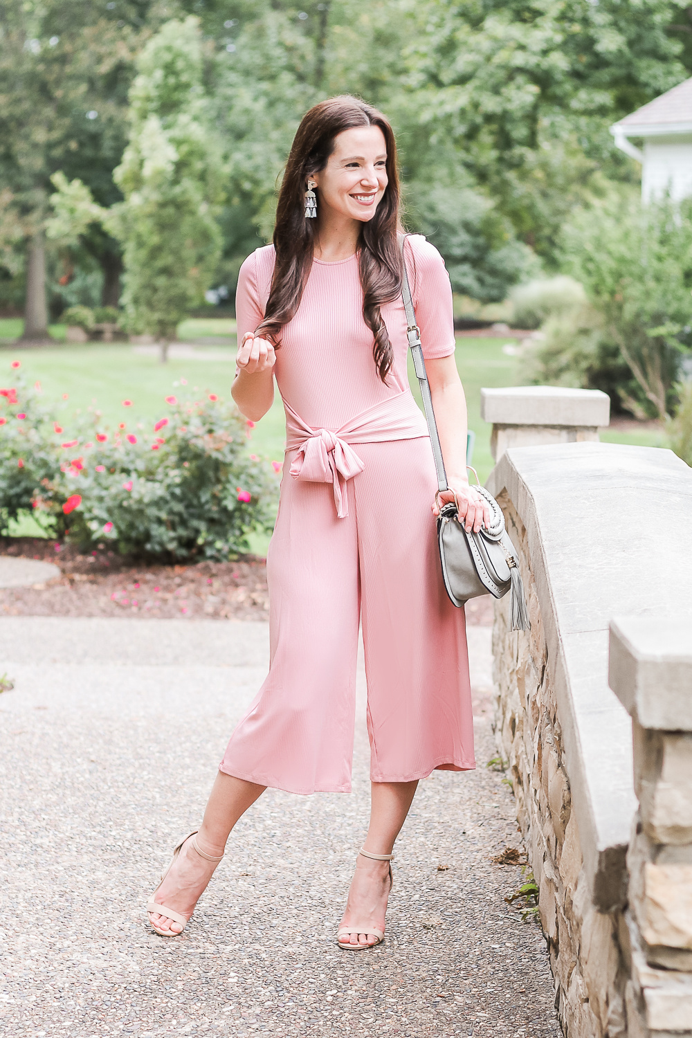 Amazon Fashion rose pink jumpsuit, find. women's ribbed jersey jumpsuit, Amazon Fashion nude block heel sandals, Chloe Hudson dupe bag, Chloe Hudson look-alike bag, Tom Clovers dupe bag, Kendra Scott Rechelle earrings, popular affordable fashion blogger Stephanie Ziajka, popular affordable fashion blog Diary of a Debutante