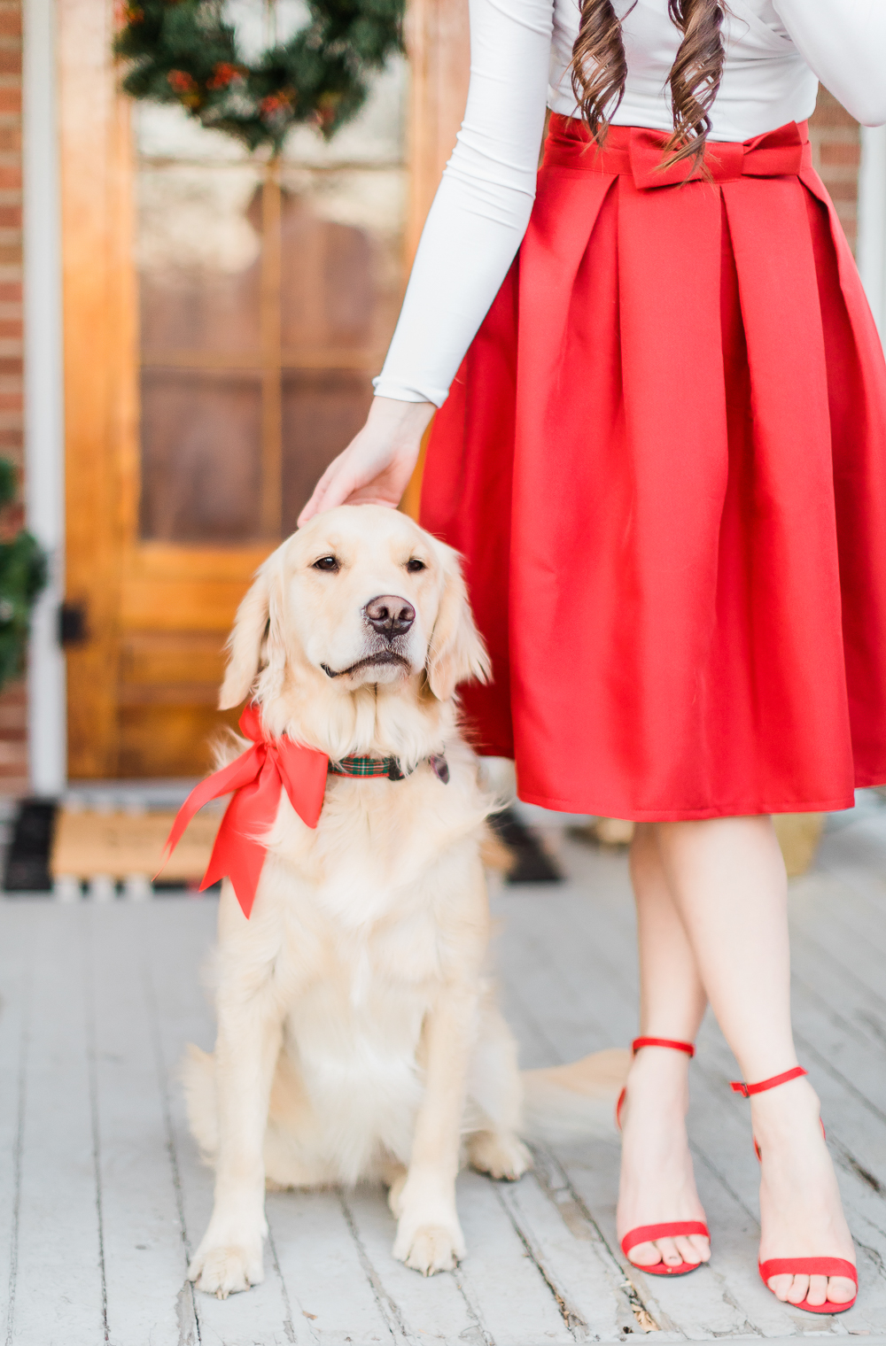 golden retriever with red bow, Amazon red bow skirt, Amazon red block heel sandals, popular affordable fashion blogger Stephanie Ziajka, popular affordable fashion blog Diary of a Debutante