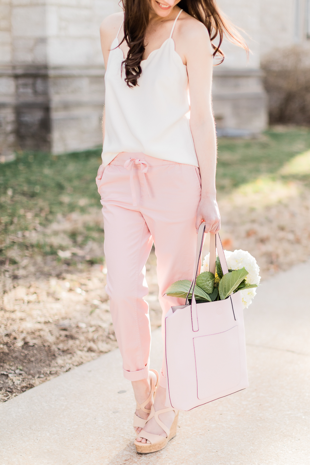 pink chino pants, white J Crew Factory scalloped cami top, pink Time and Tru tote, Date Night Outfit Ideas for Valentine's Day, Valentines Day outfit ideas, Galentines Day outfit ideas, Valentines Day outfits, popular affordable fashion blogger, Stephanie Ziajka, popular affordable fashion blog, Diary of a Debutante