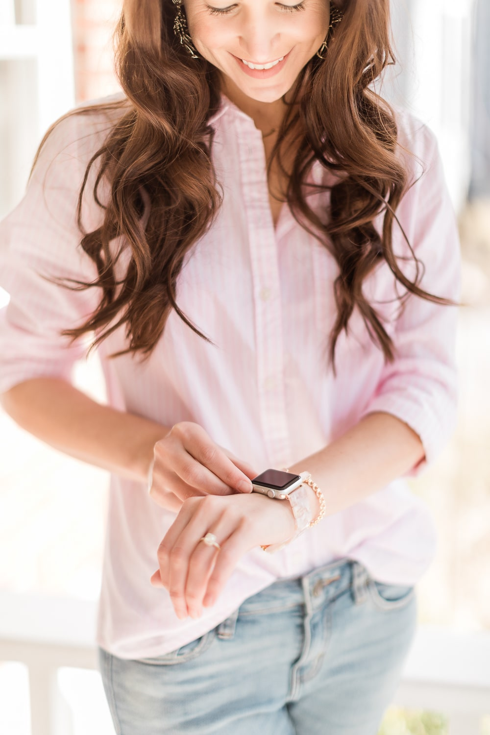 Amazon pink resin Apple Watch band styled by affordable fashion blogger Stephanie Ziajka of Diary of a Debutante