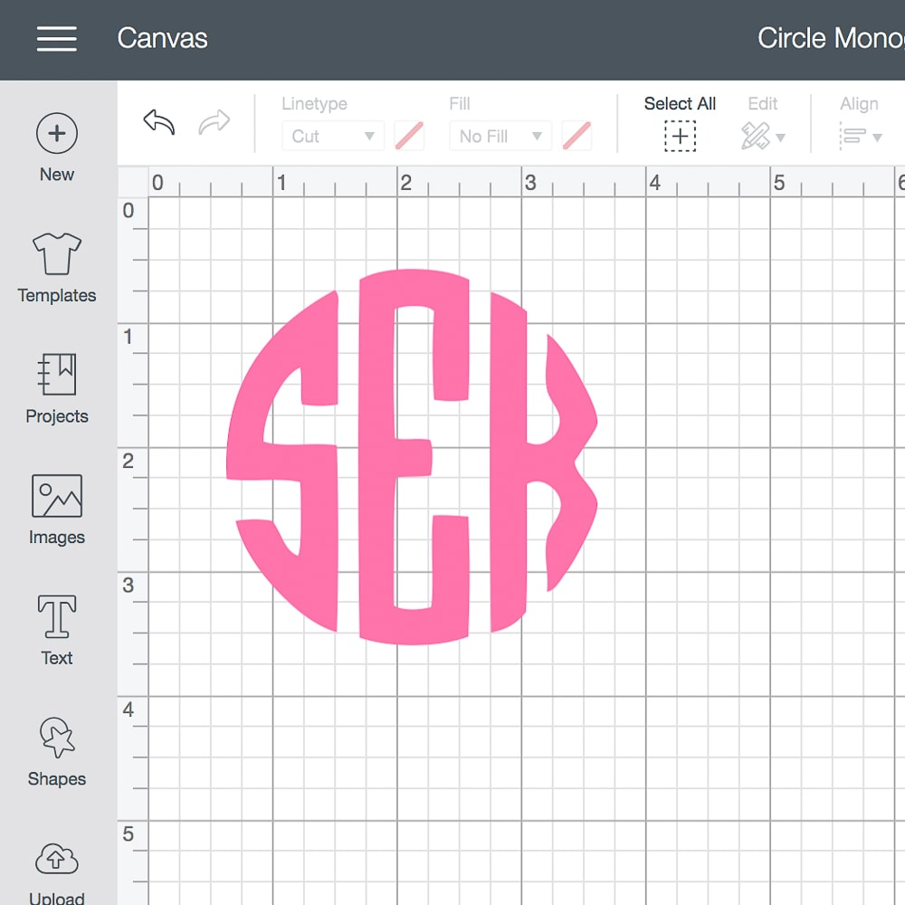 Cricut circle monogram created in Cricut Design Space by DIY blogger Stephanie Ziajka