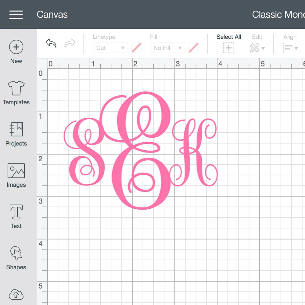 DIY blogger Stephanie Ziajka of Diary of a Debutante shares how to create your own monogram in Cricut Design Space with free monogram KK font