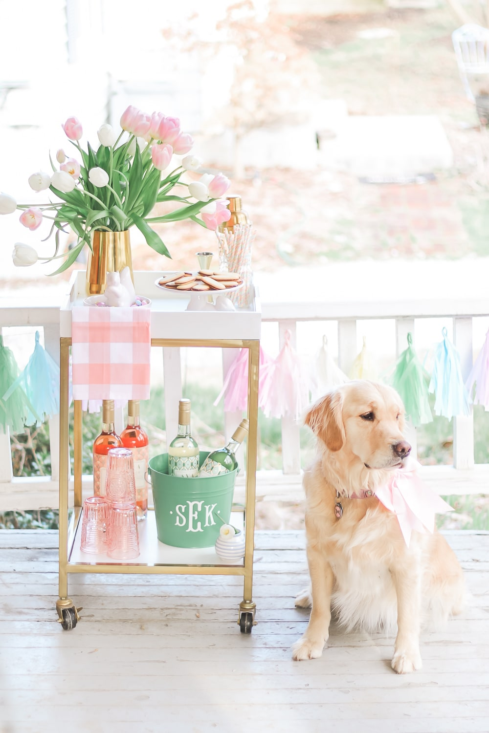 Spring bar cart styling ideas by southern lifestyle blogger Stephanie Ziajka on Diary of a Debutante