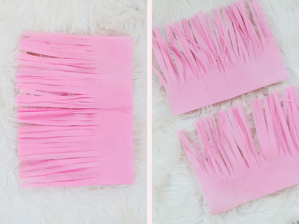 Step 3 of how to make tissue tassels by DIY blogger Stephanie Ziajka on Diary of a Debutante