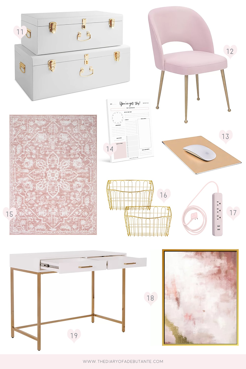 Affordable home decor blogger Stephanie Ziajka shares gold and pink office decor ideas on Diary of a Debutante