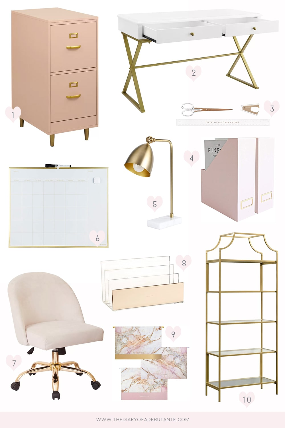 Pink and gold office ideas by southern lifestyle blogger Stephanie Ziajka on Diary of a Debutante