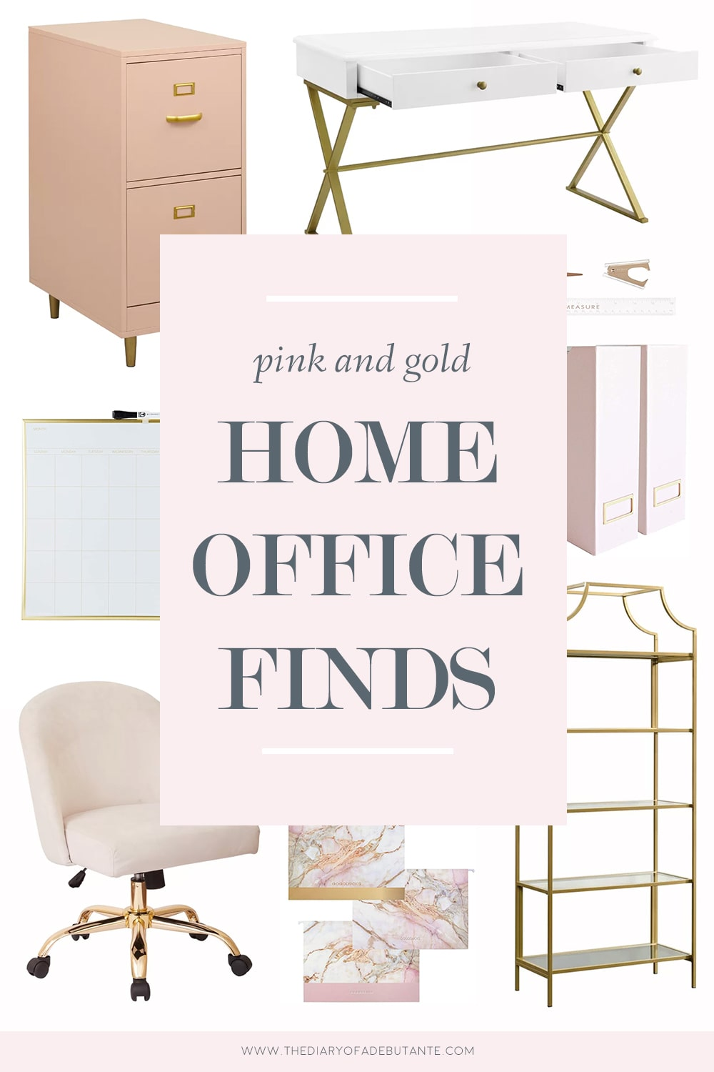 Southern lifestyle blogger Stephanie Ziajka rounds up affordable pink and gold office decor on Diary of a Debutante